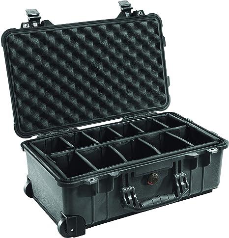 Peli 1510 - Maleta para cámara con compartimentos desplazables y ruedas, negro: Amazon.es: Electrónica