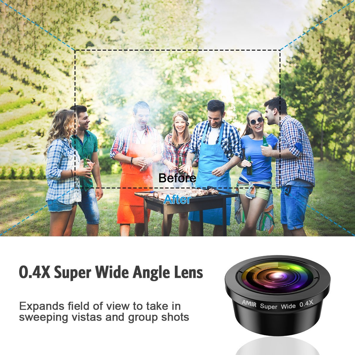 [Upgraded] AMIR For iPhone Camera Lens, 0.4X Super Wide Angle Lens + 195° Fisheye Lens & 15X Macro Lens, 3 IN 1 Cell Phone Camera Lens For iPhone X, iPhone 8/7 Plus, Samsung, Other Smartphones by AMIR (Image #2)