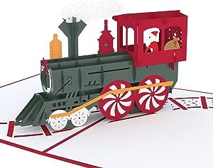 Lovepop Santa Train Pop Up Card - Greeting Cards, 3D Card, Pop Up Christmas Card, Holiday Card, Merry Christmas Card, Pop Up Holiday Card, Santa Card