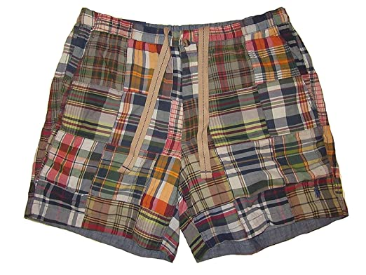 4437265f9f3f Polo Ralph Lauren Mens Classic Fit 6 quot  Drawstring Patchwork Shorts  Madras Chambray (Small