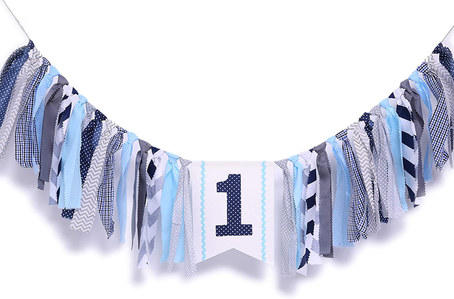 WAOUH 1st Birthday High Chair Banner - First Birthday Party Decorations for Rag Tie Fabric Garland,Photo Booth Props ,Birthday Souvenir and Gifts (Navy Blue Birthday Banner)
