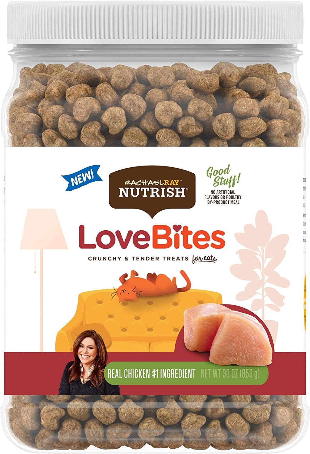 Rachael Ray Nutrish Love Bites Cat Treats, Chicken, 30 Ounce Canister