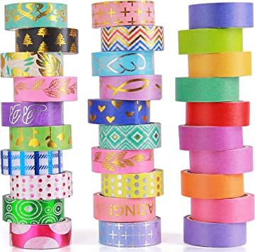 Rainbow Washi Tape Set of 20 Decorative Craft Tape for Scrapbooks Planners Colored Washi Masking Tape 10 Colors