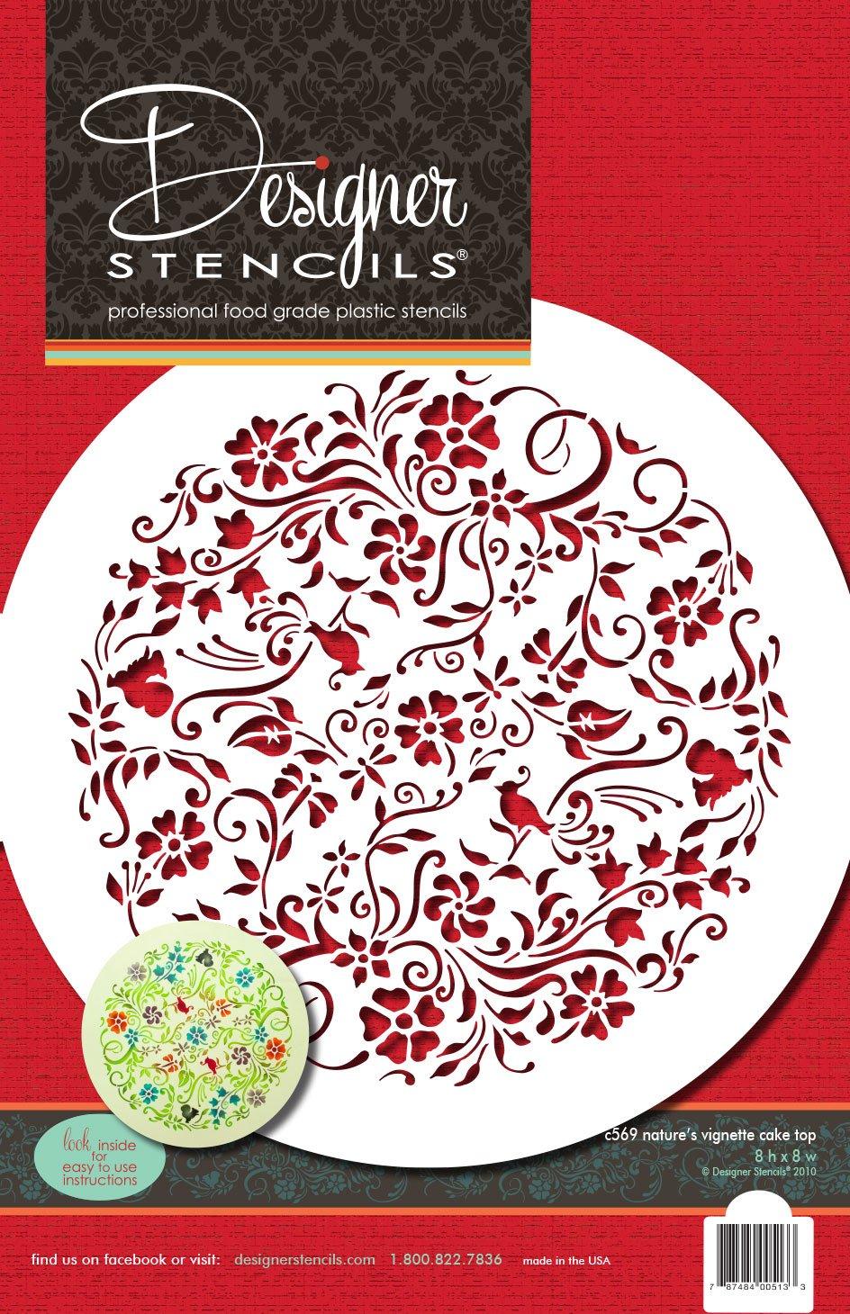 Designer Stencils C569 Nature's Vignette Cake Stencil Top, Beige/semi-transparent by Designer Stencils (Image #3)