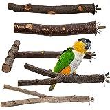 EBaokuup 5PCS Bird Parrot Perch Stand Set - Natural Wood Bird Parrot Stand Branches Fork Perch Rod Stand for Small Parakeets