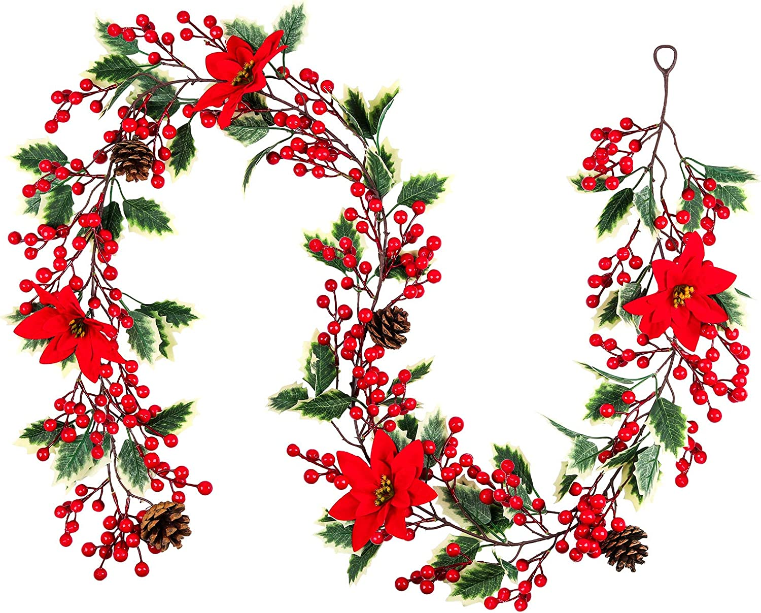 Mocoosy 6.3FT Red Berry Christmas Garland, Artificial Poinsettia Garland, Christmas Berry Garland With Pine Cones for Indoor Outdoor Fireplace Stairs Door Decorations for Holiday Xmas Home Decor