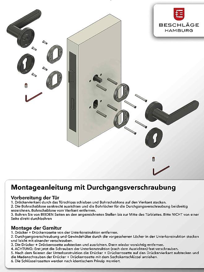 Maniglia girevole per finestra con griglia a 45/° colore nero opaco Beschl/äge Hamburg maniglia per finestra SATURN DK 07Z SM