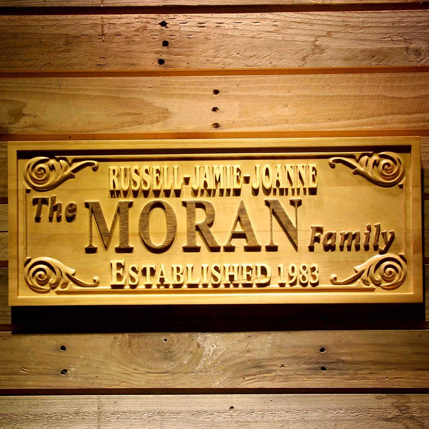 wpa0339 Family Members Name Last Name Personalized Housewarming Newborn Baby Gifts Wood Engraved Wooden Sign - Medium 18.25 x 7.25 ADV PRO