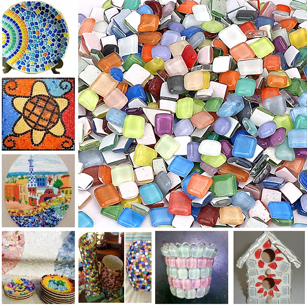 Peicees Mosaics Classico Glass Mosaic Tiles Color Variety,Great for Art Craft,1kg