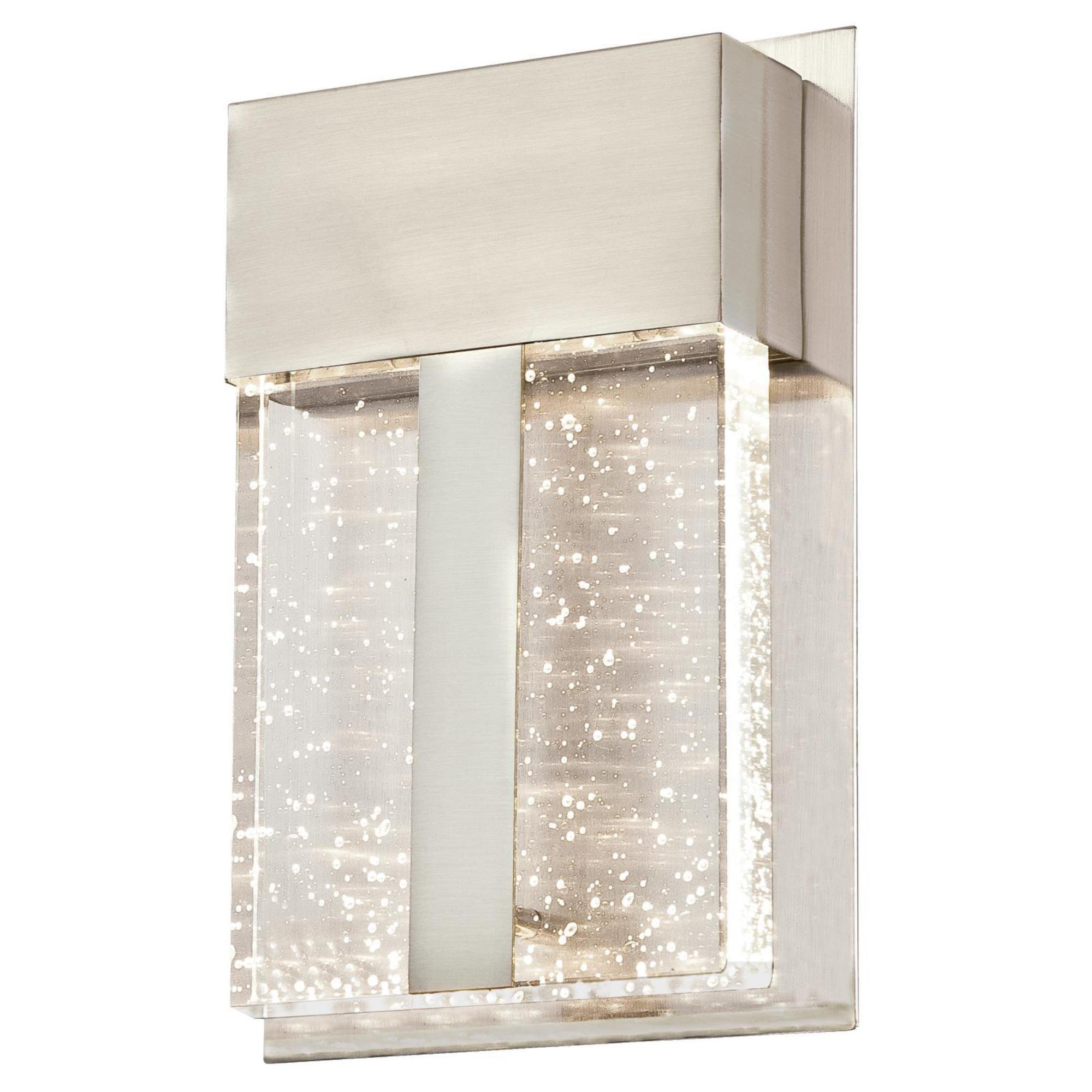 Westinghouse 6349000 Cava II One LED Outdoor Wall Fixture, Brushed Nickel Finish with Bubble Glass, 1 Light