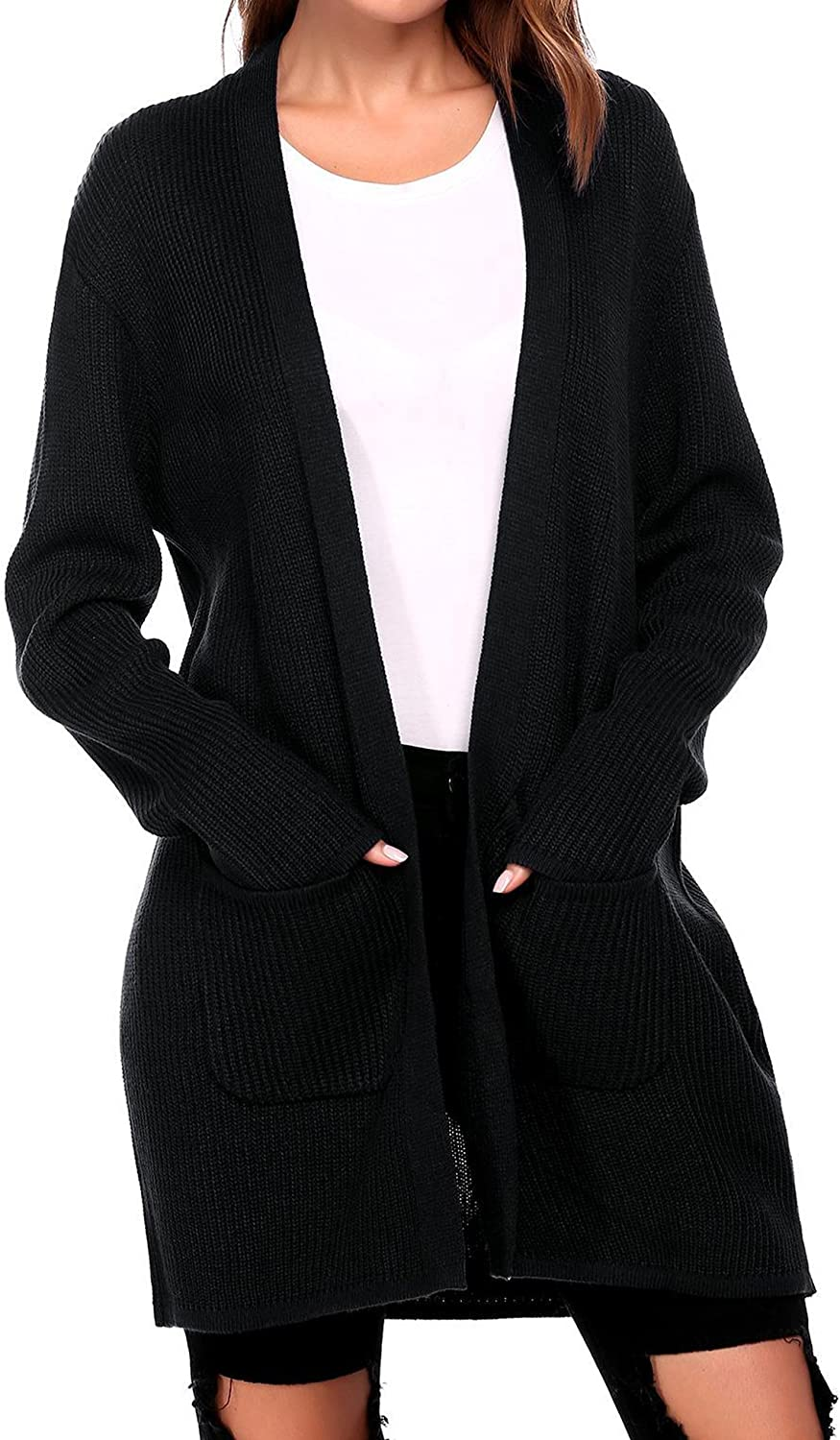 Elever Womens Long Sleeve Solid Knitted Patch Pocket Open Front Long Cardigan