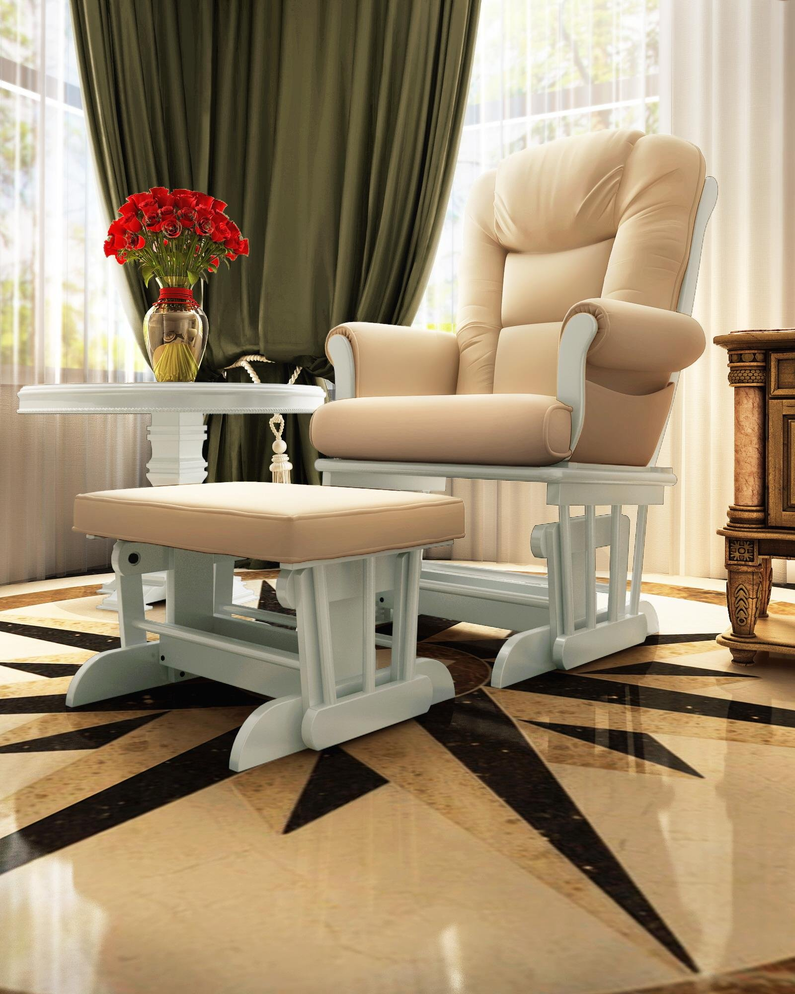 Naomi Home Deluxe Multiposition Sleigh Glider and Ottoman Set White/Cream by Naomi Home