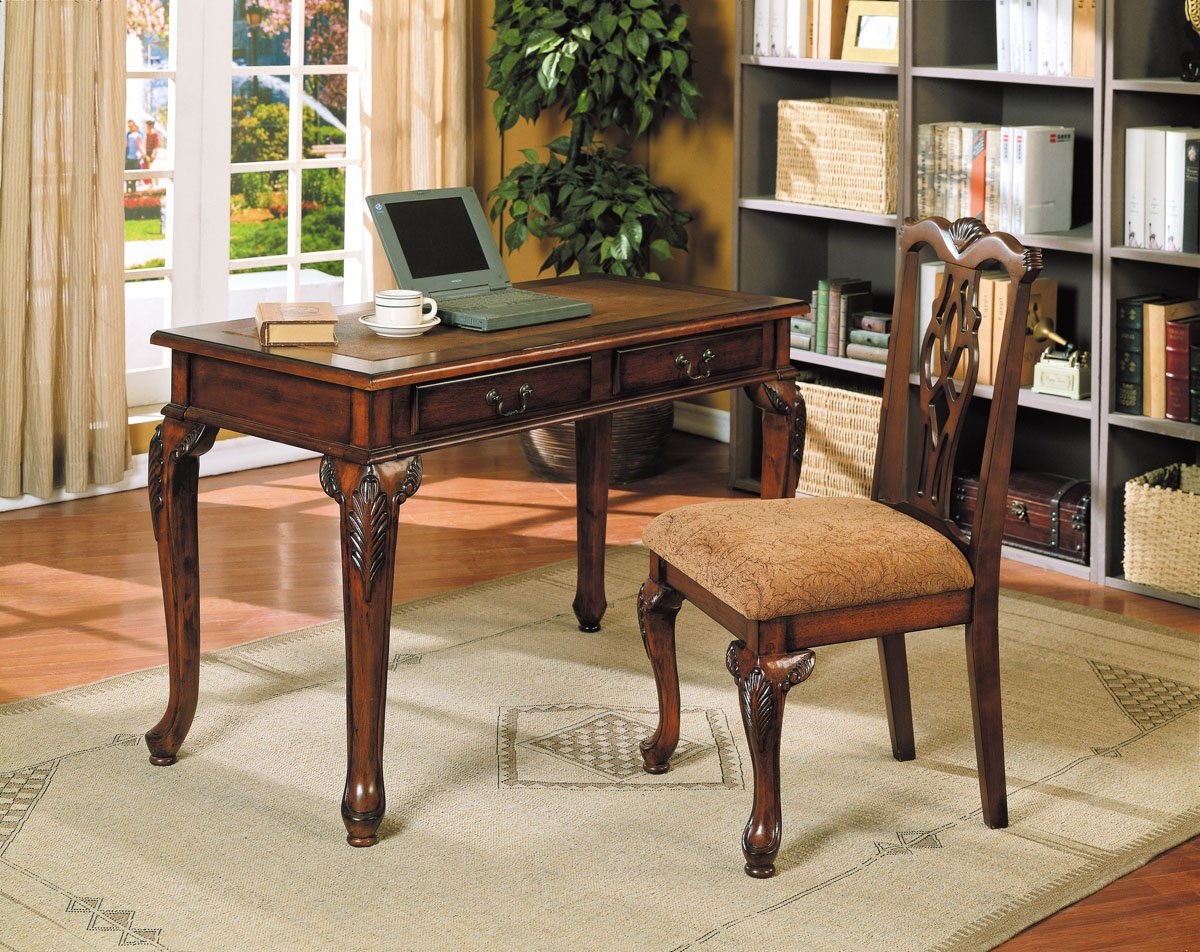 Acme 09650 2-Piece Aristocrat Writing Desk and Chair - Dark Brown Cherry Finish