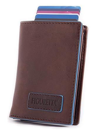 795b785e3b204 Figuretta Leder Kreditkartenetui mit Banknoten- und Münzfach - Geldbörse  Slim Wallet Portmonee - RFID Schutz