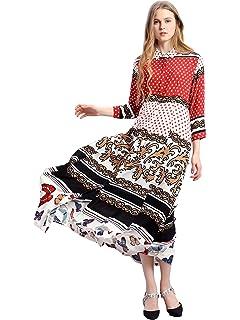 7b7ed4cd9f7 Women Floral Print Maxi Long Dress Long Sleeve Casual Shirt Dresses Arabian  Muslim Long Kaftan Abaya for Islamic…