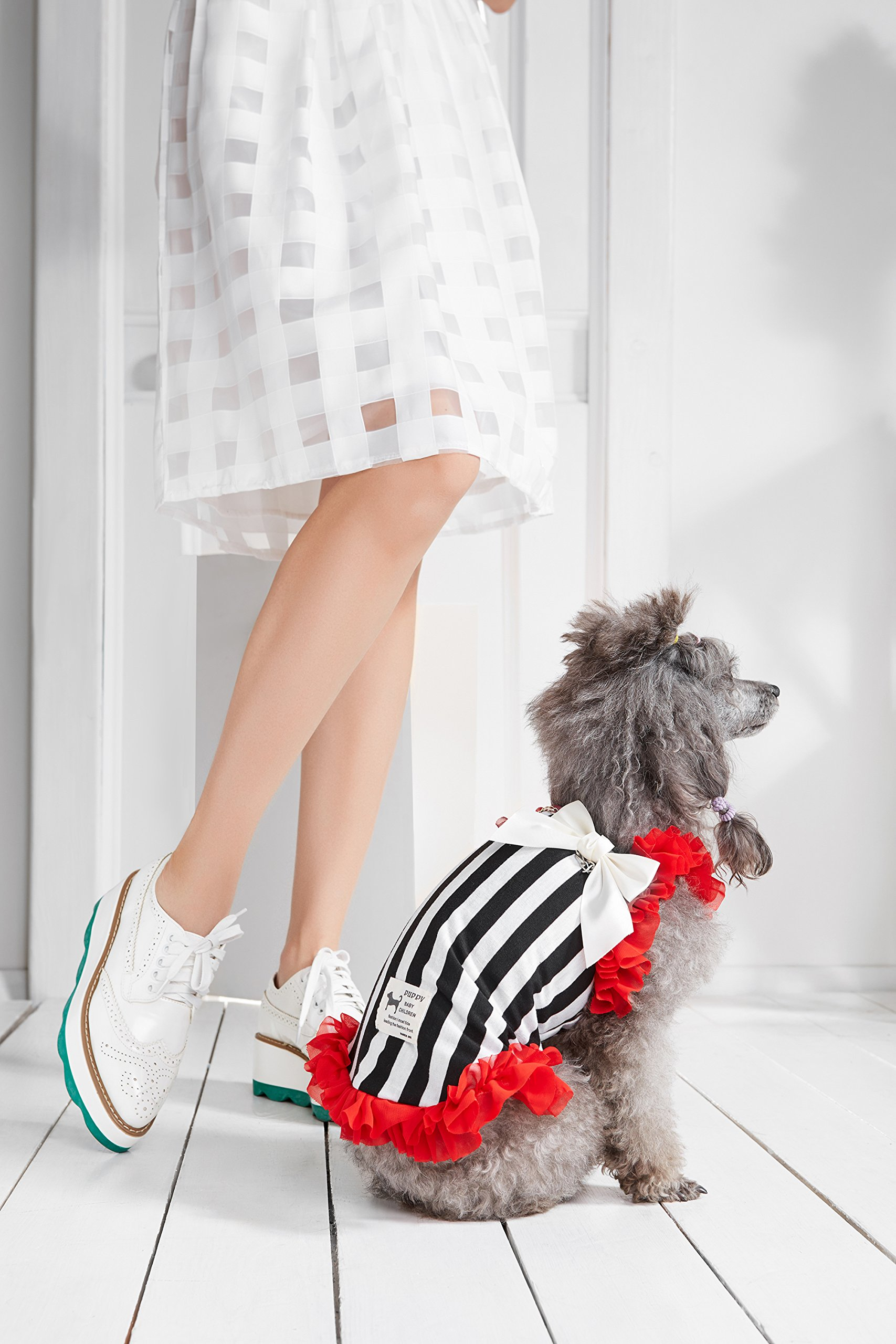"""Small Dog Striped Dress With Ruffles Satin Bow Chain Dogs Cotton Summer Clothes (Toy Plus: 10"""" / 5-9 lbs, Red, Black, White) by Nothing But Love Pets (Image #8)"""