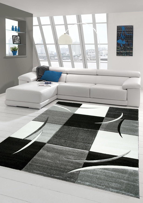 Designer Teppich Moderner Teppich Wohnzimmer Teppich Kurzflor Teppich mit Konturenschnitt Karo Muster Grau Weiss Schwarz Größe 200 x 290 cm