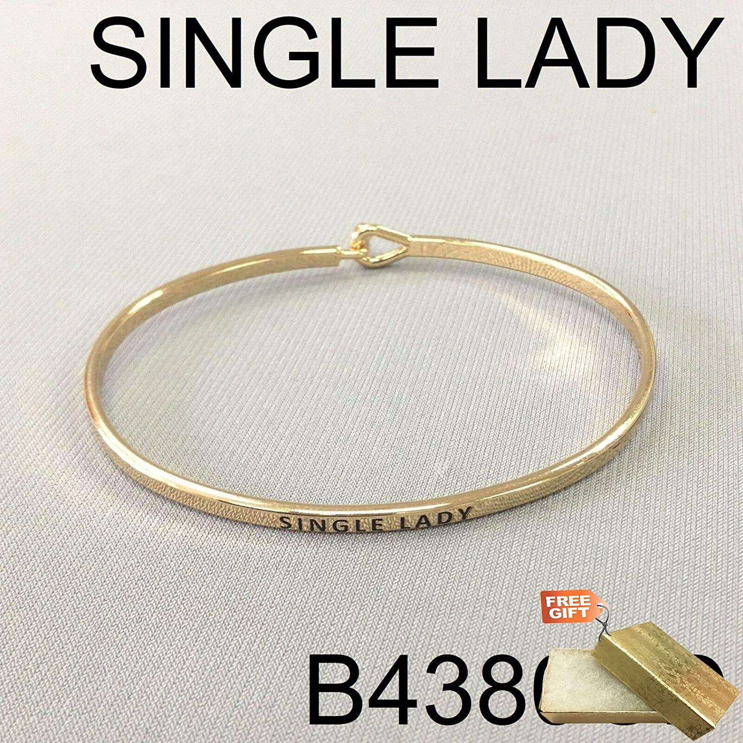 Gold Finish Single Lady Phrase Message Engraved Brass Simple Bangle Fashion Jewelry Bracelet For Women Gold Cotton Filled Gift Box for Free