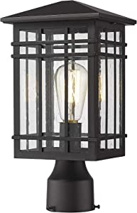 Rosient Outdoor Post Lights Fixture, Exterior Post Lantern, Outdoor Pillar Lights, Porch Post Lighting, Black Finish with Seeded Glass