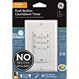 GE Push-Button Countdown Timer Switch, 5-15-30 Minute/1-2-4 Hour, ON/Off, No Neutral Wire Needed, Ideal for Lights, Exhaust F