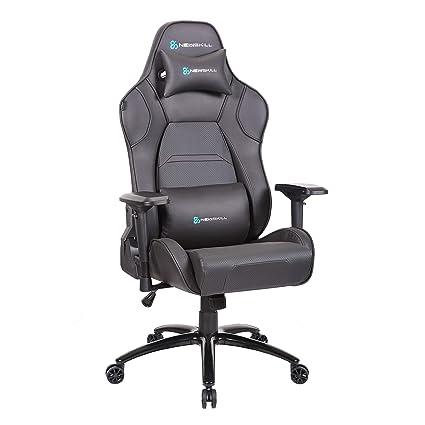 Newskill Valkyr - Silla gaming profesional con asiento microperforado para mejor sensación térmica (sistema de balanceo y reclinable 180 grados, ...