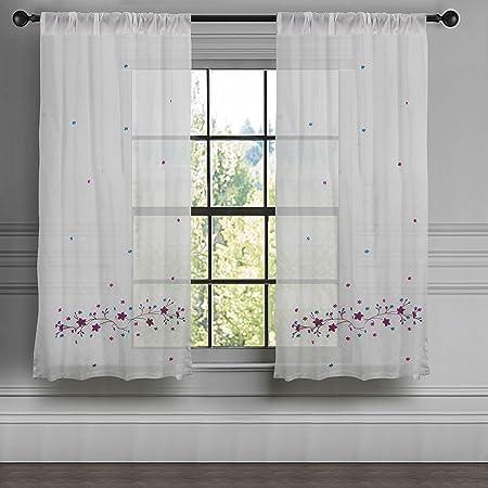 Milano hogar romántico algodón bordado, excelente calidad, 1 pura cortina/Panel: Amazon.es: Hogar