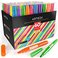 ARTEZA Highlighters Set of 60, Bulk Pack of Colored Markers, Wide and Narrow Chisel Tips, 6 Assorted Neon Colors, for…