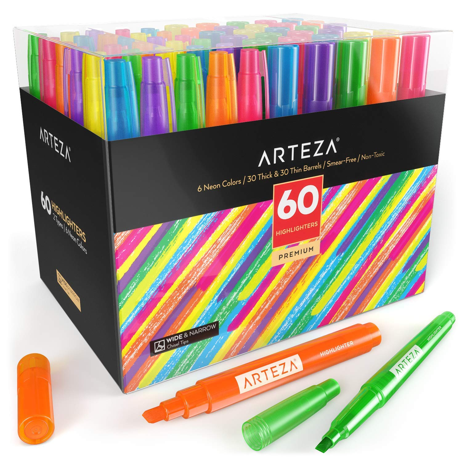 Arteza Highlighters Set of 60, Bulk Pack of Colored Markers, Wide and Narrow Chisel Tips, 6 Assorted Neon Colors, for Adults & Kids by ARTEZA (Image #1)