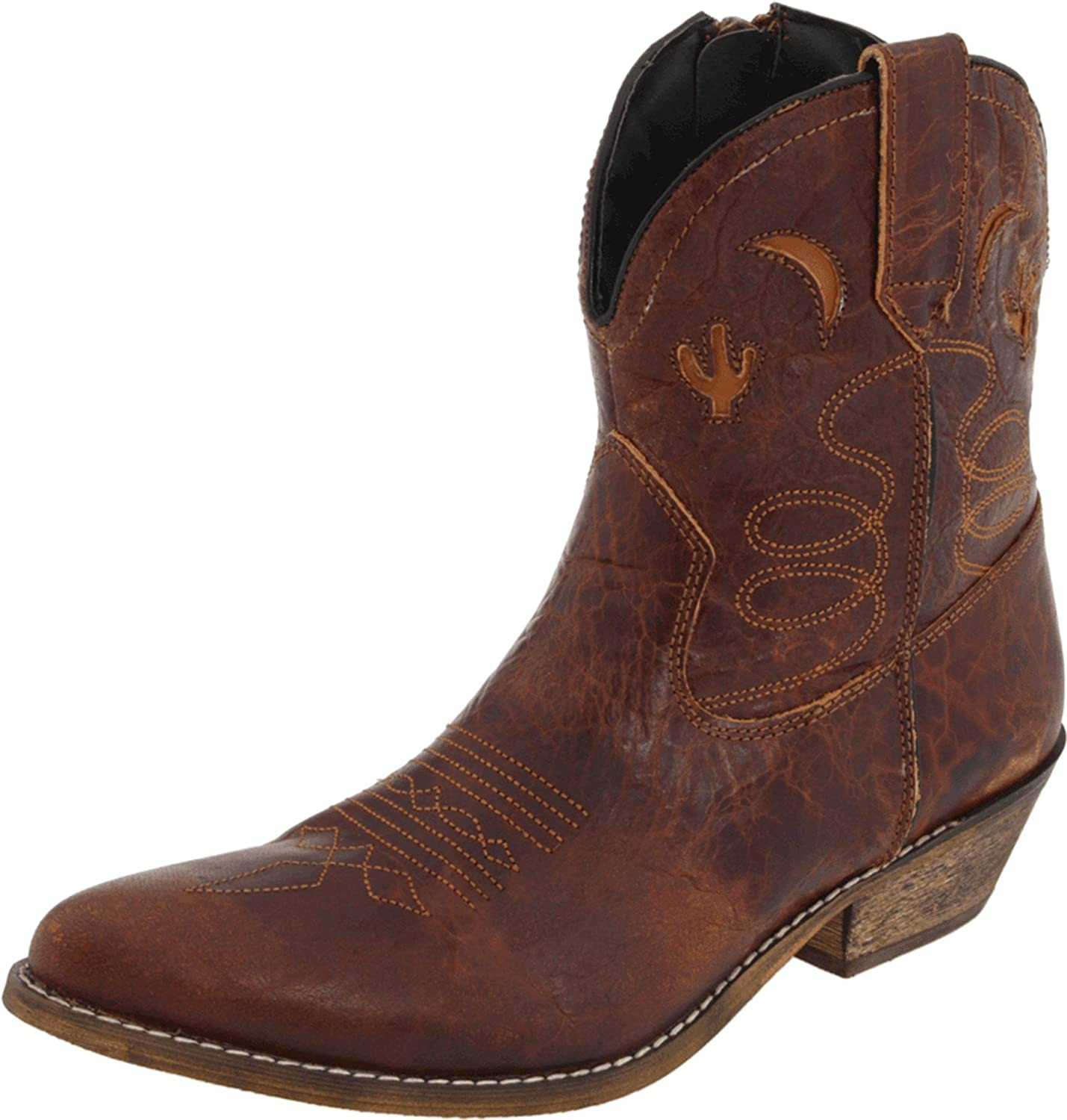 Dingo Women's Adobe Rose Leather Boots B009ZDHU06 7 W US|Light Brown Distresssed