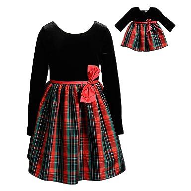 35db0a09b Amazon.com  Dollie   Me Girls  Velvet Printed Matching Doll Dress ...