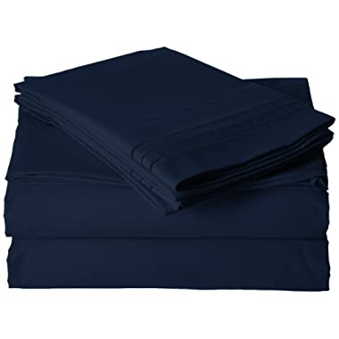 Luxurious Bed Sheets Set on Amazon! Elegant Comfort1500 Thread Count Wrinkle,Fade and Stain Resistant 4-Piece Bed Sheet Set, Deep Pocket, Hypoallergenic - Queen Navy Blue