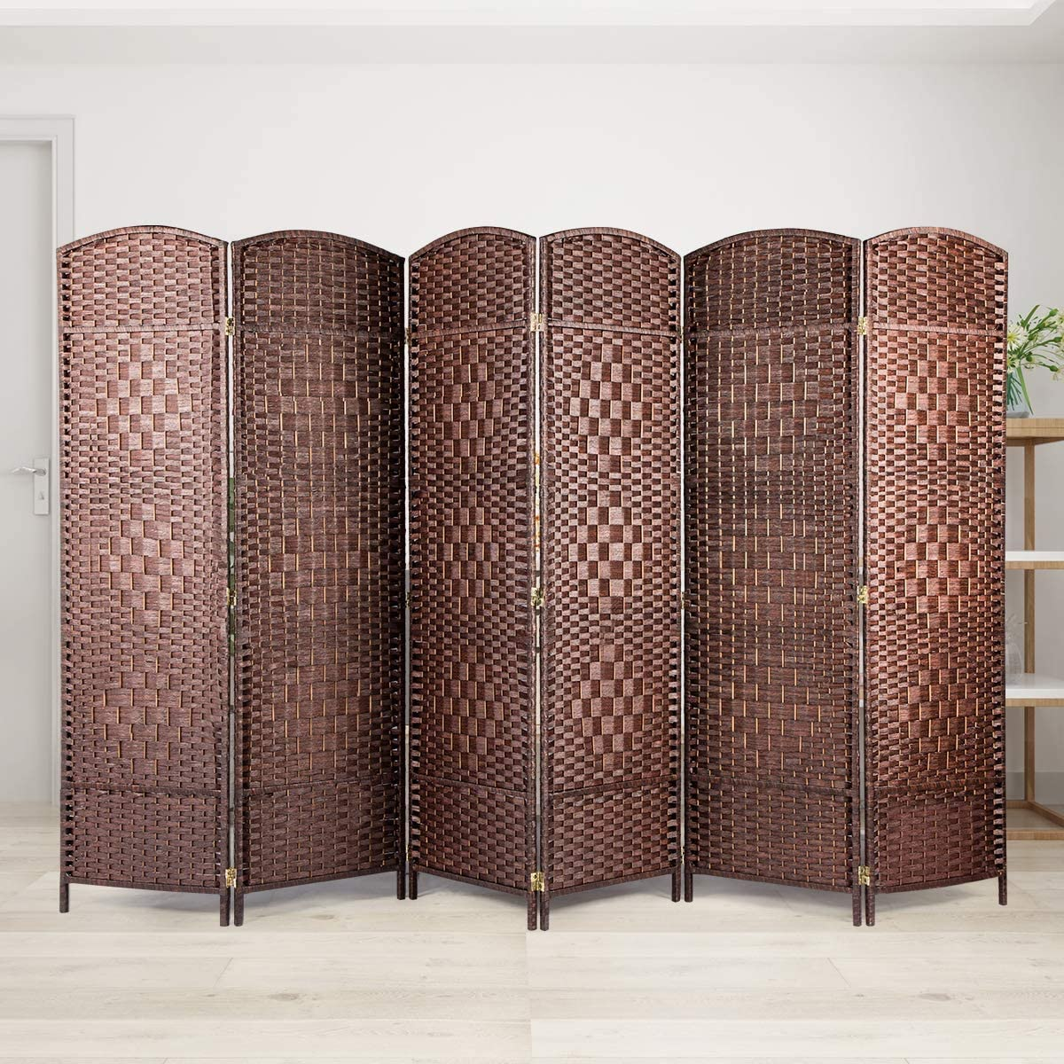 BANFANG Room Divider Privacy Screen – Foldable Panel Partition Wall Divider, Room Dividers and Folding Privacy Screens, Double Hinged 6 Panel, Brown