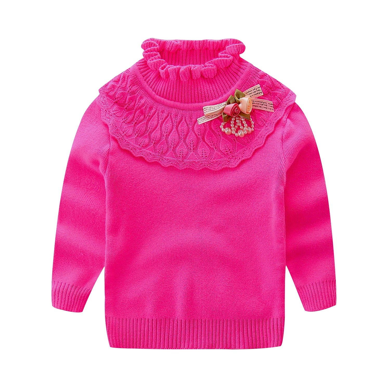 UWESPRING Little Girls Turtleneck Lace Sweater Flower Knit Pullover Made in China
