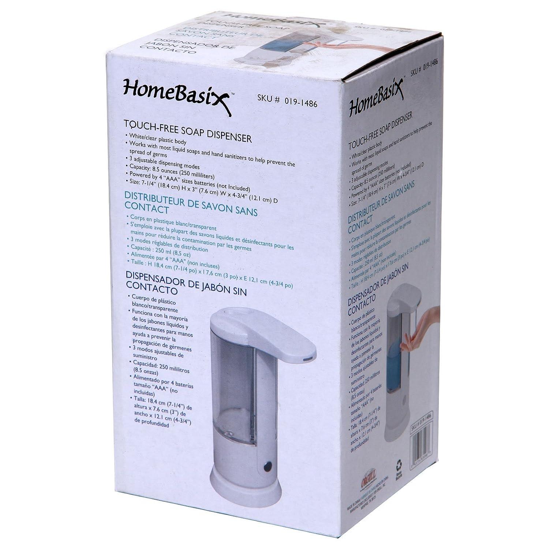 Amazon.com: Homebasix ZYX-09EA-WH Automatic Soap Dispenser, 8.5 OZ, White: Home & Kitchen