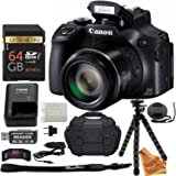 Canon PowerShot SX60 HS 16.1MP Digital Camera with 65x Optical Zoom and WiFi + 64GB Card + Camera Bag + Battery and Charger + Tripod + Card Wallet + Cleaning Kit + Super Savings Accessory Bundle