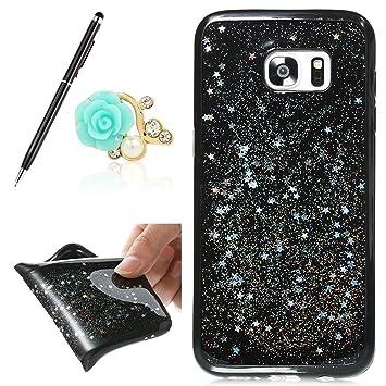 bd1d3e686c0 Galaxy S7 Edge Case móvil, uposao Bling Bling glittzer Soft Silicona TPU  Funda para Samsung Galaxy ...