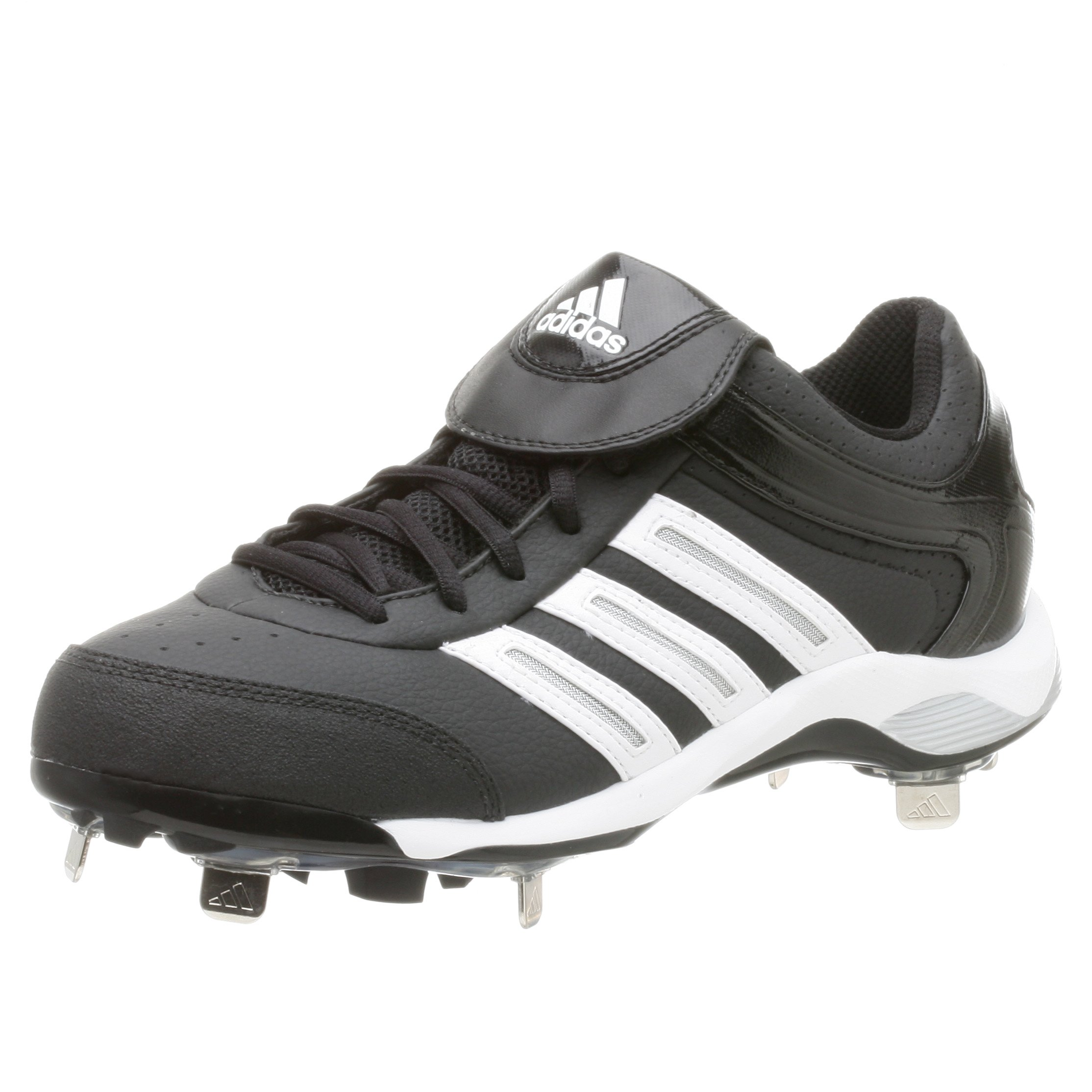 adidas Men's Diamond King Low Baseball Shoe,Blk/Runwht/Metsil,9.5 M