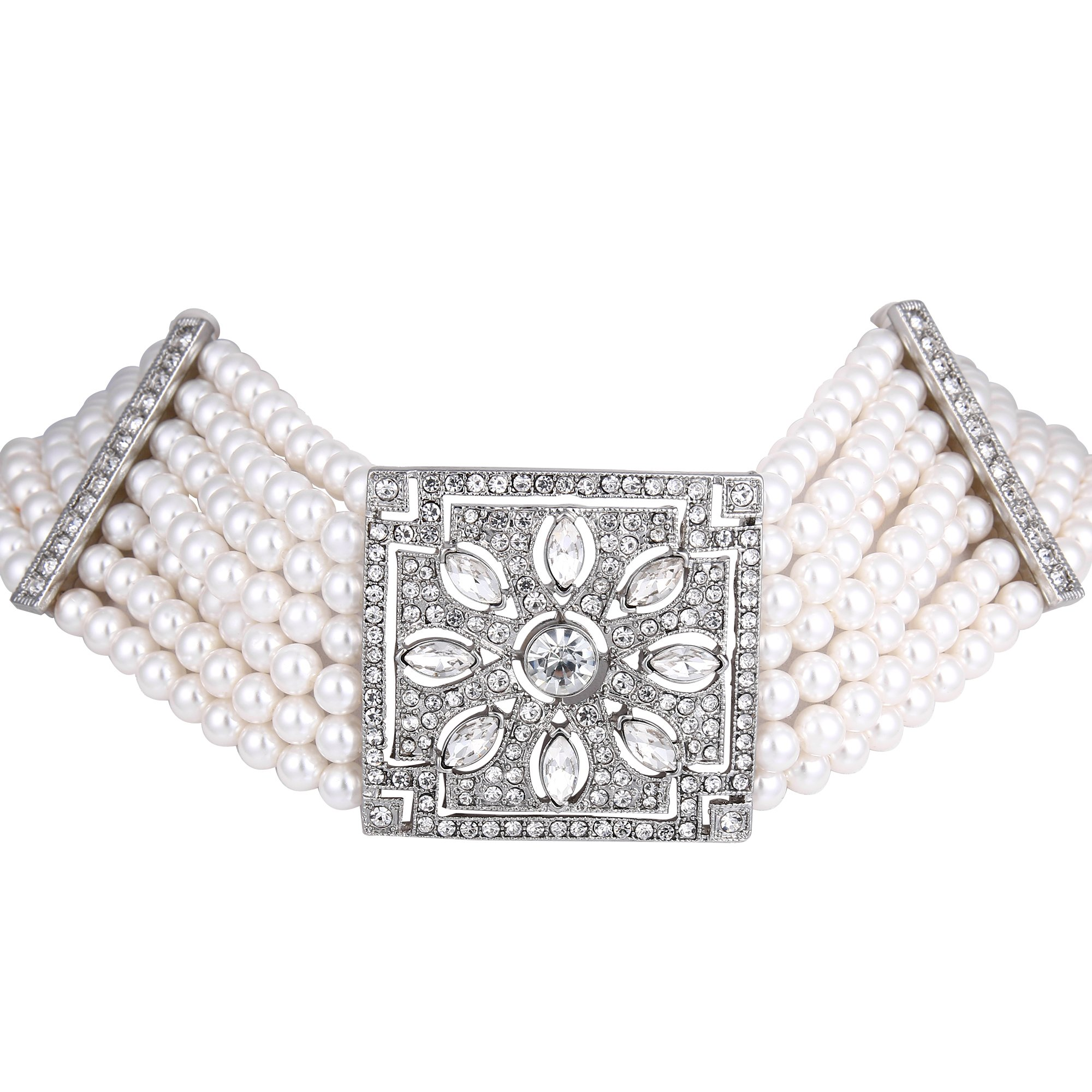 BriLove Women's Wedding Bridal Crystal Simulated Pearl Multi-Layer Art Deco Strand Necklace Clear Silver-Tone