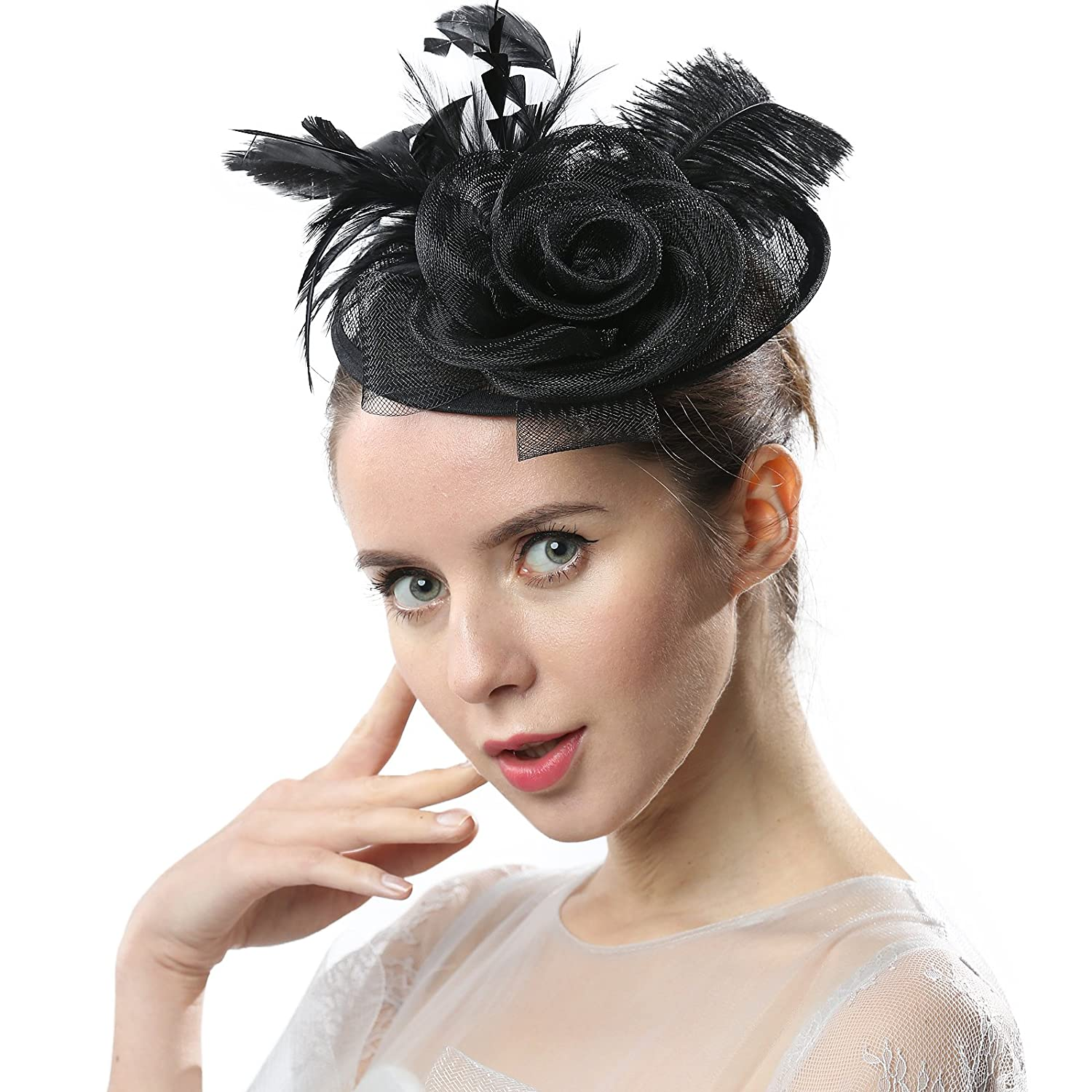 Black Janey&Rubbins Women Cocktail Sinamay Fascinators Hair Clips Derby Hats for Kentucky Derby Day, Church, Wedding, Tea Party