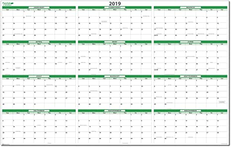 earth green 2019 drywet erasable wall horizontal view calendar 36 in wide
