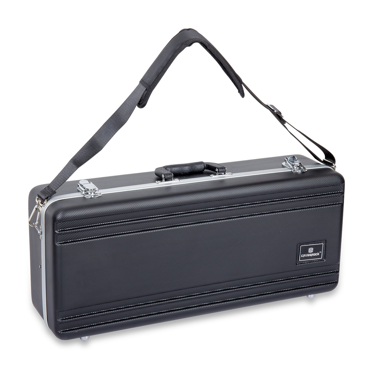 Crossrock CRA860ASBK-R Alto Saxophone Case- Rectangular ABS Molded with Single Shoulder Strap in Black