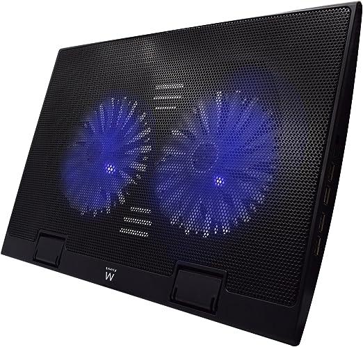Ewent EW1257 Base de refrigeración gaming para ordenador portátil de 12 a 17 pulgadas con 4 puertos USB Hub, 2 ventiladores y luz LED blu, color negro: Amazon.es: Informática