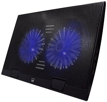 Ewent EW1257 Base de refrigeración gaming para ordenador portátil de 12 a 17 pulgadas con 4 puertos USB Hub, 2 ventiladores y luz LED blu, color negro: ...
