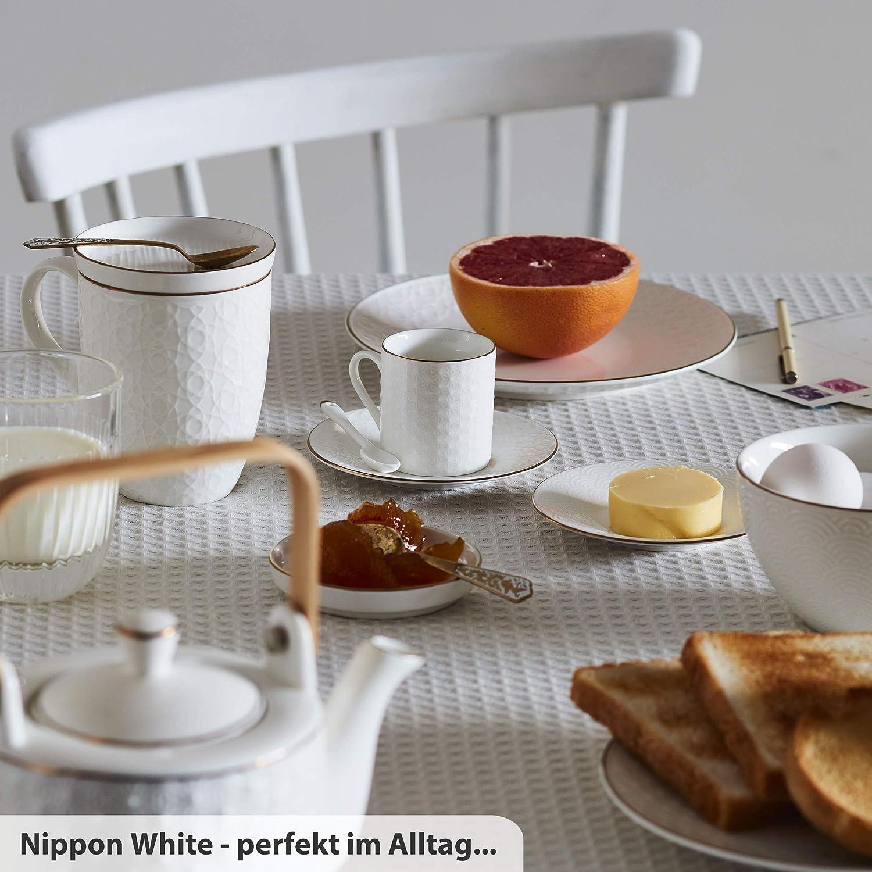 Geschenk-Verpackung asiatisches Porzellan TOKYO design studio Nippon White 6-er L/öffel-Set wei/ß Japanisches Design inkl 13 cm klein mit Gold-Rand