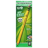 Ticonderoga Wood-Cased My First Pencils, #2 HB Soft, Pre-Sharpened, With Eraser, Yellow, 12 Count (33312)