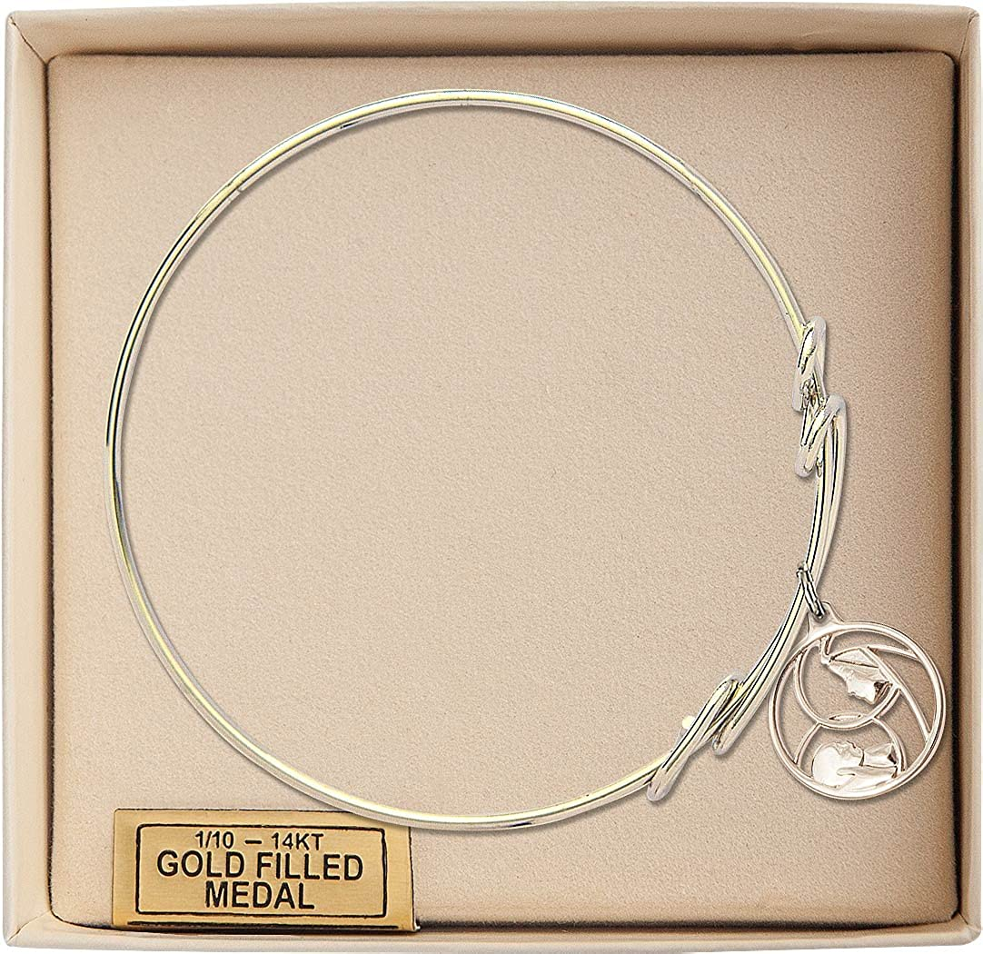 Bonyak Jewelry Round Double Loop Bangle Bracelet w//Madonna and Child in Gold-Filled