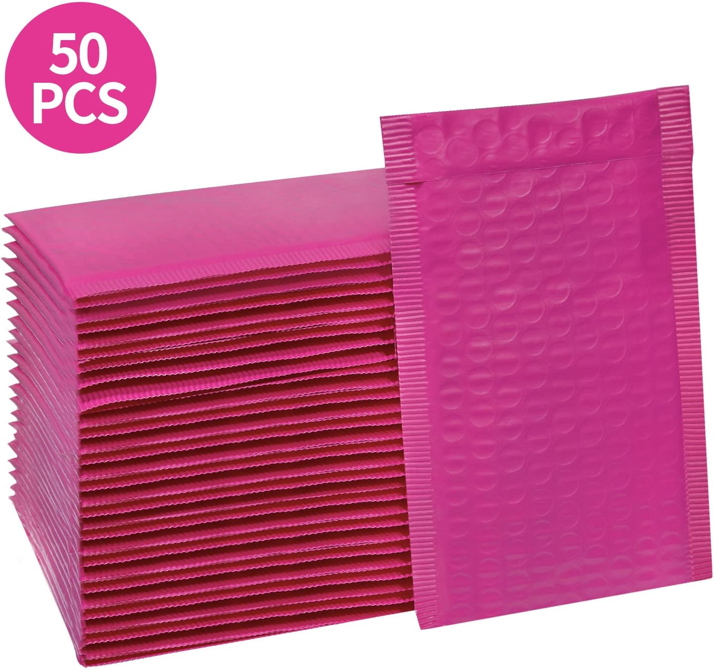 HBlife #000 4x8 Inches Poly Bubble Mailers Self Seal Hot Pink Padded Envelopes, Pack of 50 : Office Products