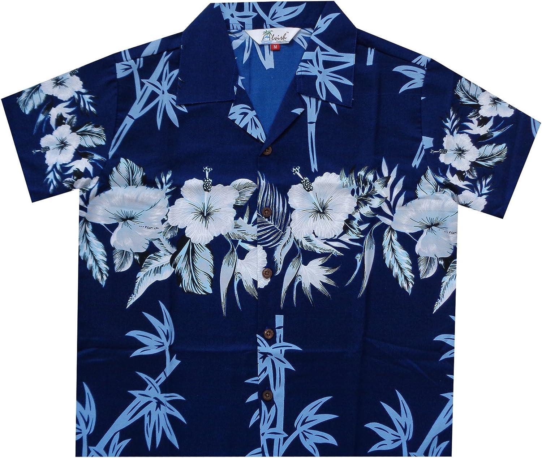 Camisas hawaianas para niños, playa de bambú Aloha fiesta campamento de manga corta vacaciones casual - azul - Large