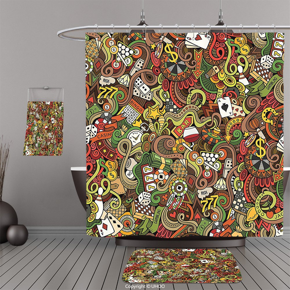 Uhoo Bathroom Suits & Shower Curtains Floor Mats And Bath TowelsCasino Decorations Doodles Style Art Bingo Excitement Checkers King Tambourine Vegas For Bathroom by UHOO