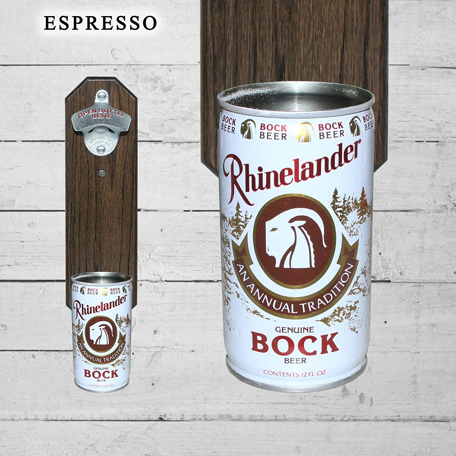 Made in the USA Gift Wall Mounted Bottle Opener with Vintage Rhinelander Bock Beer Can Cap Catcher